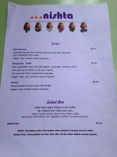 Nishta menu